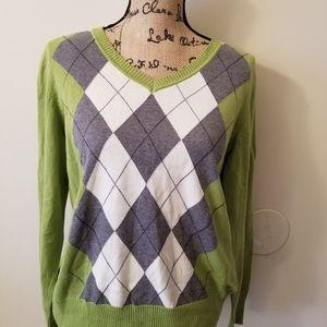 St. John's Bay Argyle V Neck Sweater